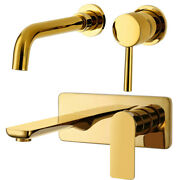 Wall Mount Basin Sink Faucet Hot Cold Bathtub Mixer Single Handle Brass Tap Gold