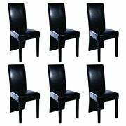 2/4/6 Black Dining Chair Modern High Back Artificial Leather Kitchen Living Room
