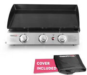 Griddle Grill 23 In. 3 Burner Propane Gas Cooking Portable Stainless Steel Cover