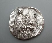 French Religious Large Medal. Saint Virgin Mary And Jesus. City Of Troyes.