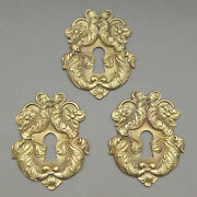 French, Antique Brass Door Rococo Style Plate Cover, With Key Hole. Lot 3.