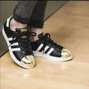 Adidas Originals Superstar Metal Toe Bb5115 Womenand039s Leather Sneaker Black Gold