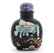 Rare Imperial Antique Chinese Snuff Bottle With Opal, Amber Inlay Lapis Stopper