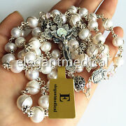 Wire Wraped Sterling Silver Beads +aaa Real Pearl Catholic Rosary Necklace Cross