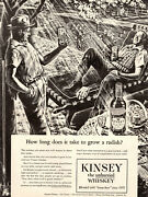 1945 Ww2 Beverage Ad Kinsey Whiskey And Victory Gardens , Scratcboard Art 071019