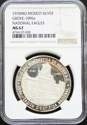 Mexico Mint 1 Oz Silver Medal National Eagles 1970 Grove 1096a. Ngc Ms67.