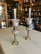 Magnificent Antique 19 Th Century French Paris Pair Of Gas Lights Opaline Glass