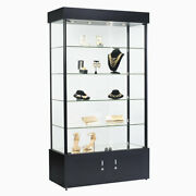 Assembled 4 Shelf Tower Display Case With Low Profile Led Lights 40 Wx18 Dx73h