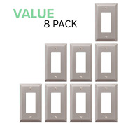 Value 8-pack Rocker Gfci Outlet Light Switch Toggle Wall Plate, Brushed Nickel