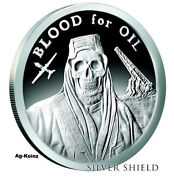 1 Oz 2017 Blood For Oil Proof - Death Of The Dollar 4 Silver Shield Ssg 999 Ag