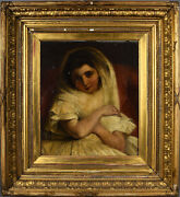 Framed Antique Oil Painting Of Young Girl In White Dress With Soulful Brown Eyes