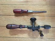 Vintage Antique Tools - Wood Hand Drill With Old Bit Egg Beater - Screwdriver