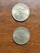 Two 2 Sacagawea One Dollar Us Liberty Gold Color Coins 2000 P