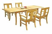 Dsos A-grade Teak 5pc Dining Set 94 Rectangle Table 4 Arm Chairs Outdoor Patio