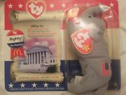 Ty Beanie Baby Liberty Lefty And Righty American Trio W/ Date Tag Errors