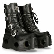New Rock Spring Platform Leather Boots - 373-s2 - Gothicgoth