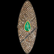 Victorian Inspired 5.09cts Pave Rose Diamond Emerald Studded Silver Ring Jewelry