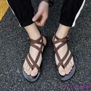 Mens Gladiator Sandals Leather Roman Shoes Boot Clip Toe Thongs Strappy Flat New