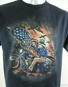 Uncle Sam Riding A Chopper Old Glory Bombers Above Hot Leathers Large T Shirt