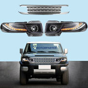 Led Halo Projector Headlights Car Lamp For 07-15 Toyota Fj Cruiser W/grille Lamp