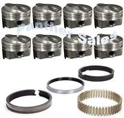 Chevy 7.4 454 Marine Hypereutectic Coated 20cc Dome Pistons Cast Rings Set Std