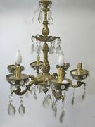 Vintage French Bronze And Glass Chandelier 5564