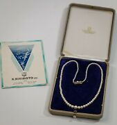 Mikimoto Vintage Graduated Pearls Sterling Silver Clasp 2.2mm-6.8mm Box Papers