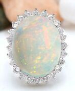 11.31 Carat Natural Opal 14k Solid White Gold Diamond Ring