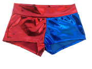Harley Quinn Shorts Blue/red Shiny Wet Metallic In S - 3xl Same Day Shipping