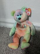 Rare Ty Beanie Baby Peace Bear - Original Collectible 1996 - With All Tag
