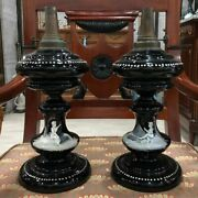 Antique 19th Century French Paris Pair Of Mary Gregory Gas Lights Opaline Glass
