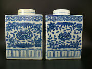 Pair Large Chinese Blue And White Porcelain Tea Caddies With Floral Scrolls 19th C