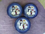Tabletops Unlimited Snowman Blue Dinner Plates Christmas Holiday 11 Set Of 3