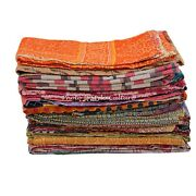 Indian Blanket Bedding Kantha Bedspread Reversible Quilts Coverlet Throw 10pcs