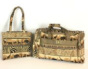 2 Pioneer Express Safari Tapestry Jade Tote And Duffel Bag Carry-on Luggage Set