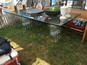 C1978 Contemporary Glass And Acrylic Conference Table Signed Vjj 8andrsquo X 4andrsquo Heavy