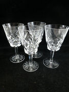 Waterford Crystal Ashling Cut 4 Water Goblets Cut Fans/panels Multisided Stem