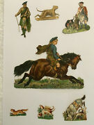 Antique Victorian Scraps Embossed Die Cut Scotsman Hunters And Hounds 1850and039s