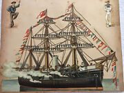 Antique Victorian Scraps Embossed Die Cut Steam/sail Battleship + Dogs And Cats