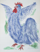 Rooster By Reuven Rubin Signed Limited Edition 41/100 Lithograph On Paper