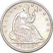 S7262 Scarce Usa 50 Cents Half Dollar Liberty Seated 1853 Silver -make Offer