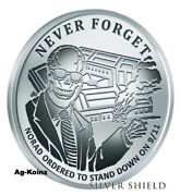 1 Oz 2017 Norad Reverse Proof - Never Forget 9 Silver Shield 9-11 Inside Job Ag