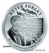 1 Oz 2017 Wtc7 Proof - Never Forget 10 Silver Shield 999 Wtc 9-11 Twin Towers