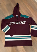 Supreme Ny Hockey Jersey Sweater Hoodie Ss15 Mighty Ducks Colors Rare Large