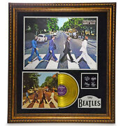 The Beatles Abbey Road Framed Gold Lp Record Collage D/25 W/ Autographs Photo