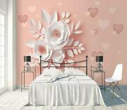 3d Pink Ceramic Floral Wallpaper Wall Mural Removable Self-adhesive Sticker 98