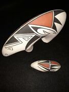 Native American Pueblo Indian Painted Signed Rv Vintage Pottery Bear Figures