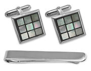 Sterling Silver Blue Mother Of Pearl Chequered Cufflinks Tie Clip Box Set