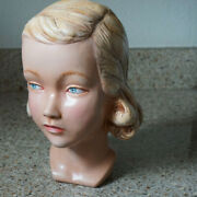 Vintage Life Size 1930's Caucasian Female Mannequin Head Blonde Hair And Blue Eyes