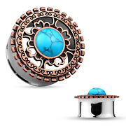 Ear Gauge Tunnels Turquoise Centered Antique Bronze Plated Tribal Shield Top